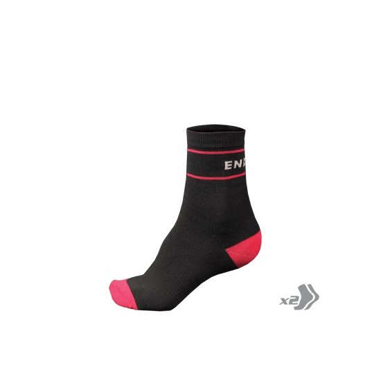 E1020 Endura Wms Retro Sock (Twin Pack) Black